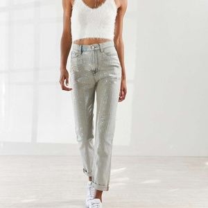 BDG Light Wash Sequin High Waisted Mom Jeans